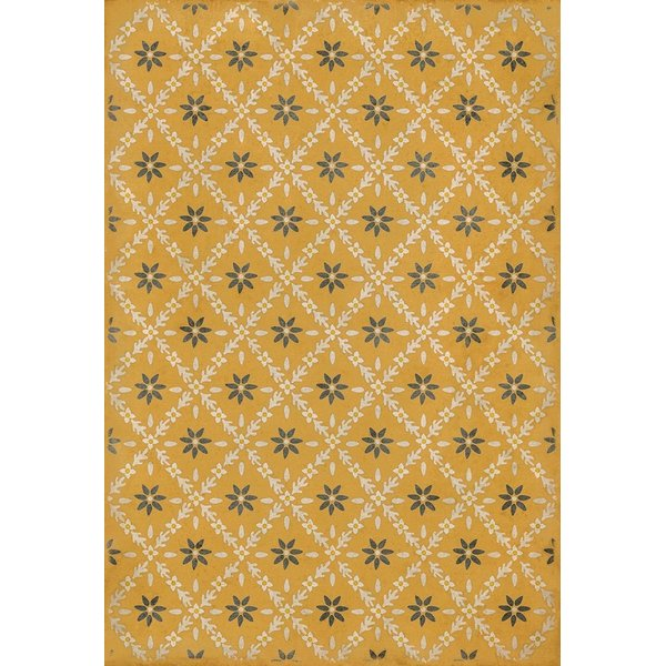 Yellow, Cream, Distressed Grey - Catesby Floral / Botanical Area-Rugs