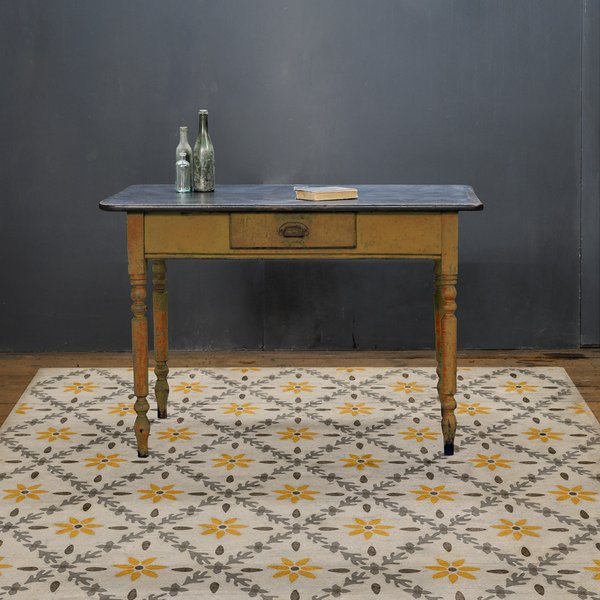 Beige, Distressed Grey, Yellow (Collinson) Floral / Botanical Area Rug