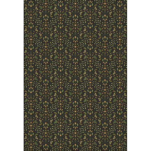Distressed Black, Green, Yellow - Benevolus Floral / Botanical Area-Rugs