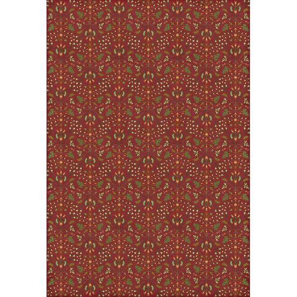 Red, Green - Busy Body Floral / Botanical Area-Rugs