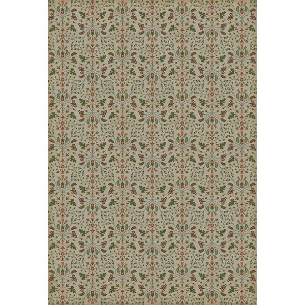 Cream, Green, Red - Courteous Reader Floral / Botanical Area-Rugs