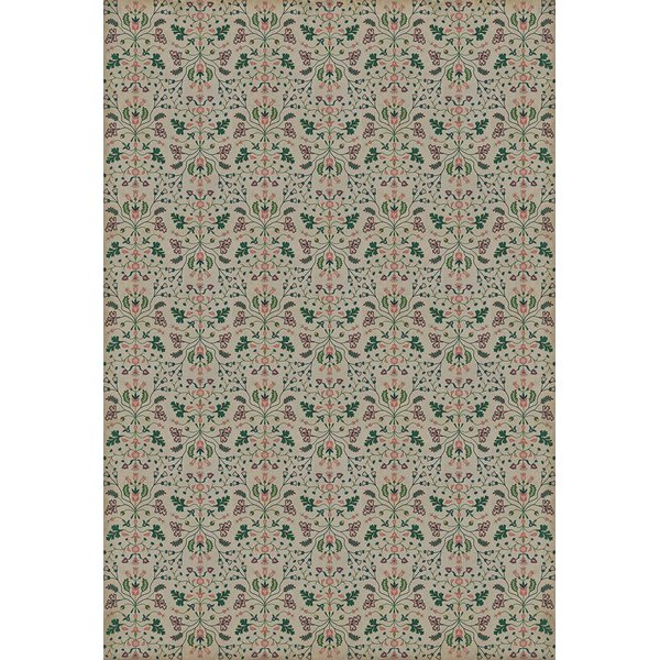Taupe, Green, Pink - Gentle Readers Floral / Botanical Area-Rugs
