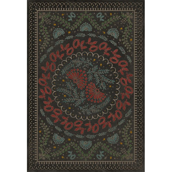 Antiqued Brown, Red, Blue (Down in a Leafy Dell) Contemporary / Modern Area Rug