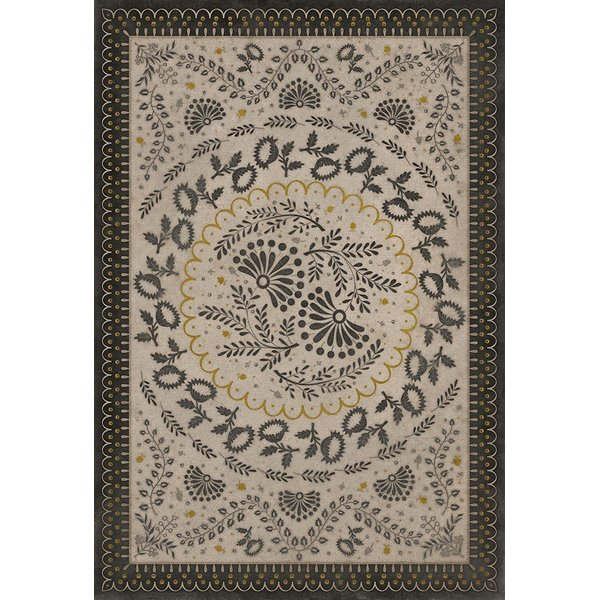Cream, Gold, Distressed Black (Lilly Dale) Contemporary / Modern Area Rug