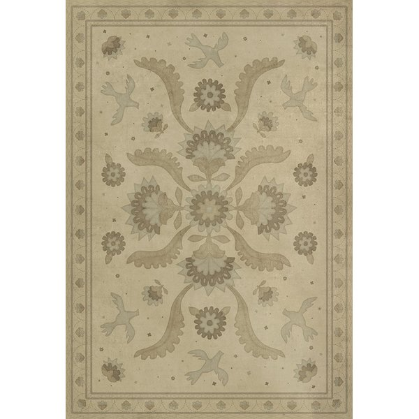 Distressed Cream (A Way To Mend) Floral / Botanical Area Rug