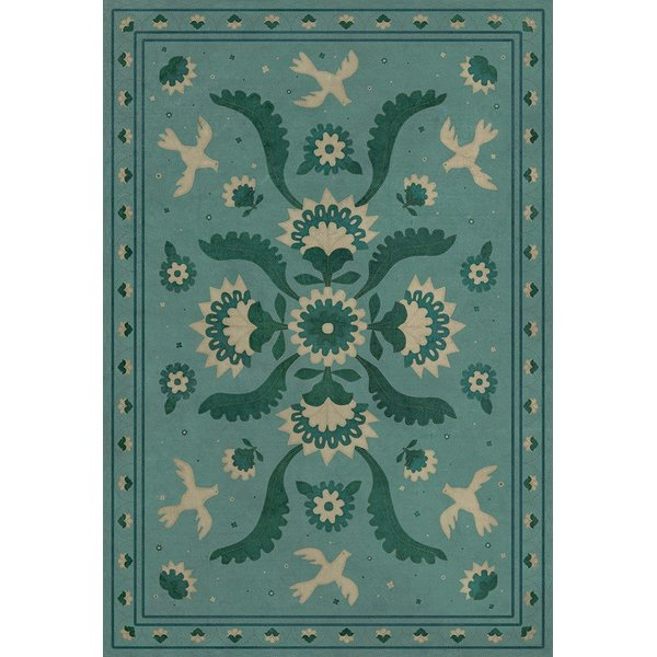 Blue, Green, Cream (Barred Clouds Bloom) Floral / Botanical Area Rug