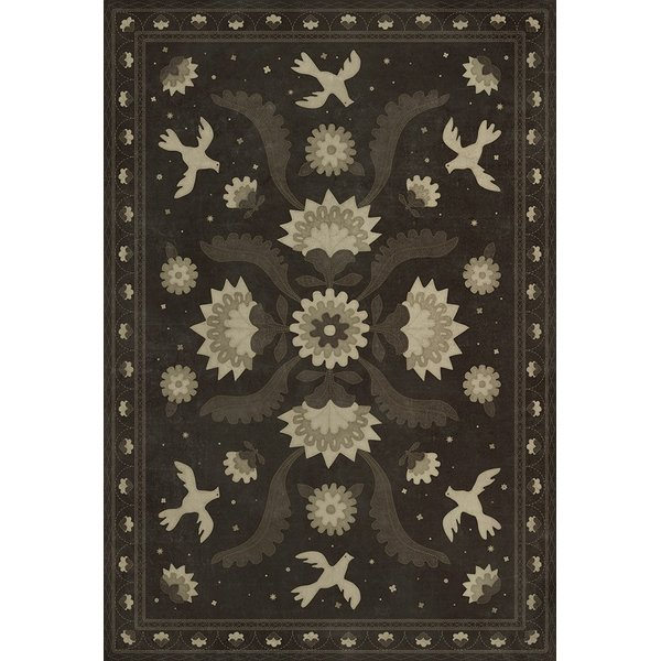 Distressed Black, Cream (Stitches of the Hours) Floral / Botanical Area Rug