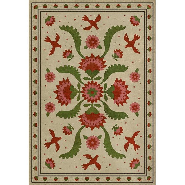 Distressed Cream, Red, Green (The Frolic) Floral / Botanical Area Rug