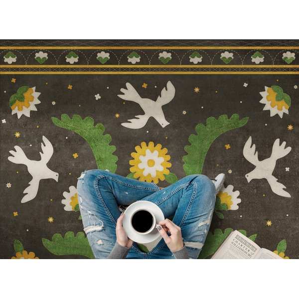Green, Mustard, Cream - The Greenest Dells Floral / Botanical Area-Rugs