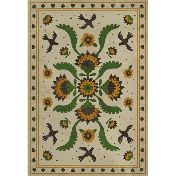 Distressed Beige, Green, Mustard (Wild Bees Song) Floral / Botanical Area Rug