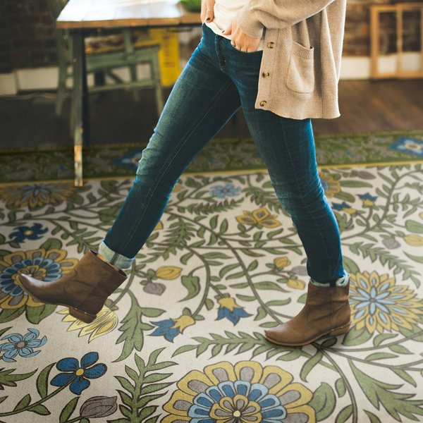 Green, Yellow, Blue - Bombay Floral / Botanical Area-Rugs