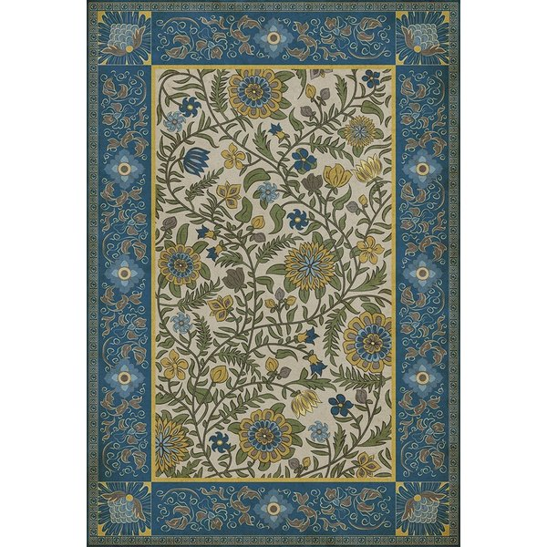 Blue, Green, Yellow - Cochin Floral / Botanical Area-Rugs