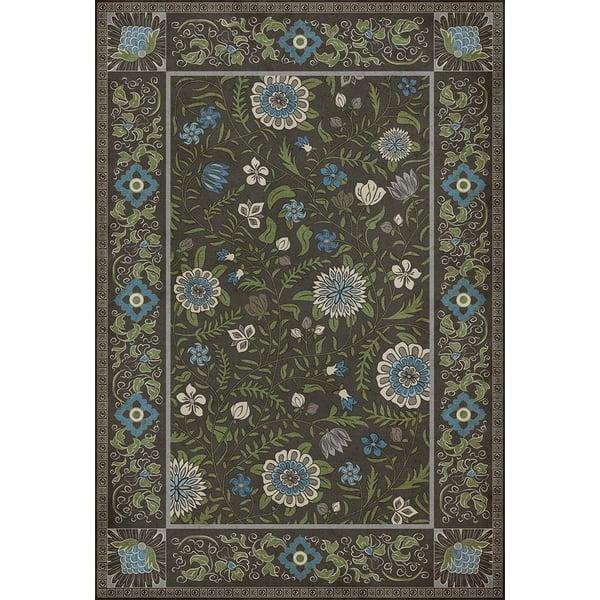 Distressed Black, Blue, Green - Jaipur Floral / Botanical Area-Rugs