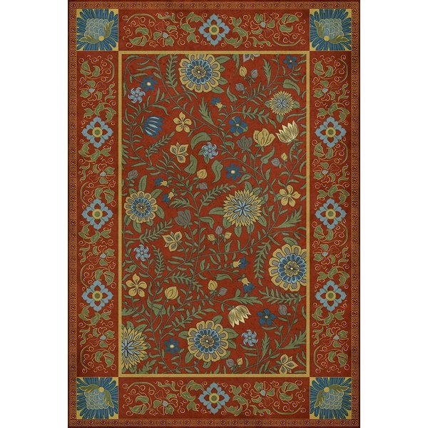 Green, Blue, Red - Pondicherry Floral / Botanical Area-Rugs
