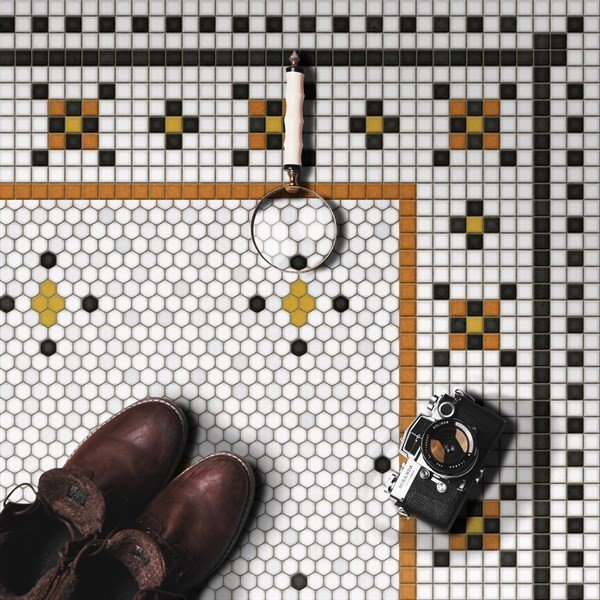 Ivory, Distressed Black, Orange - Rawson Street Contemporary / Modern Area-Rugs