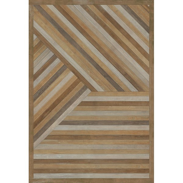 Antique Brown, Distressed Grey (Into the Trees) Geometric Area Rug