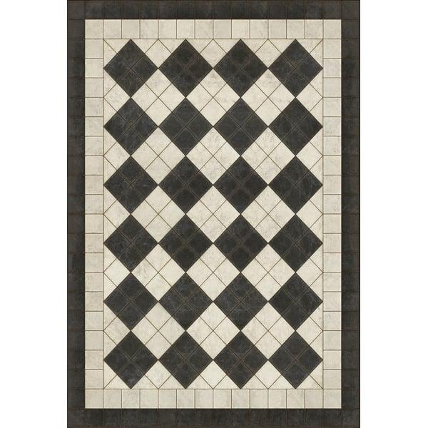 Distressed Black, Cream - Palatial Geometric Area-Rugs