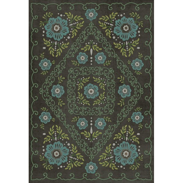 Distressed Black, Blue, Green - A Mere Formality Floral / Botanical Area-Rugs