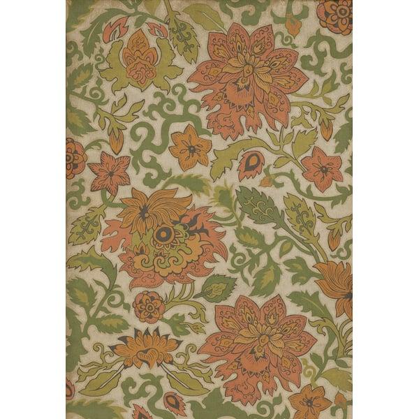 Cream, Green, Orange (Land of the Rising Sun) Floral / Botanical Area Rug