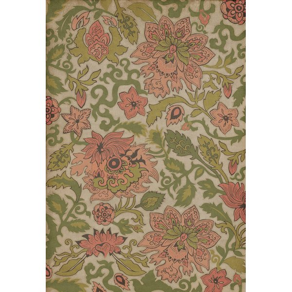 Cream, Green, Pink (Noto Peninsula) Floral / Botanical Area Rug