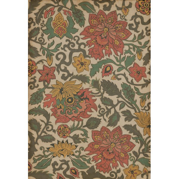 Cream, Green, Red (Pacific Ring of Fire) Floral / Botanical Area Rug