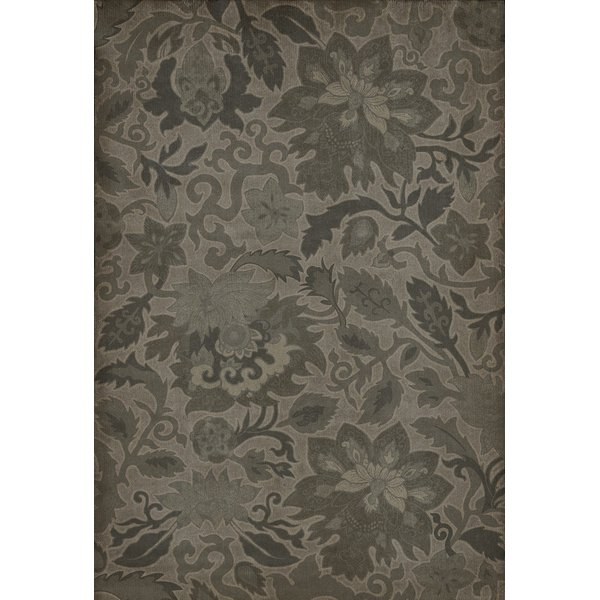 Distressed Black (The Japanese Alps) Floral / Botanical Area Rug