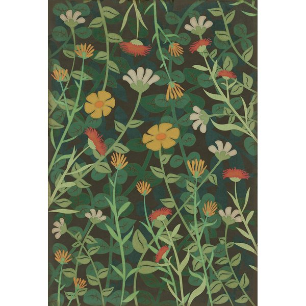 Distressed Green (Land of the Fae) Floral / Botanical Area Rug