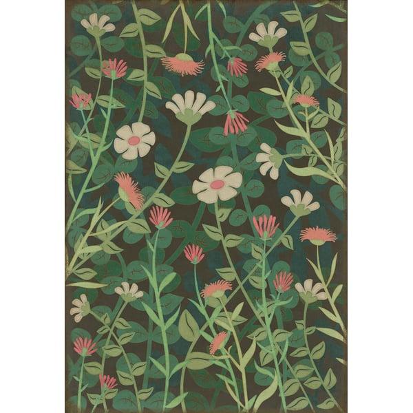 Green, Pink, Cream - Little Idas Flowers Floral / Botanical Area-Rugs