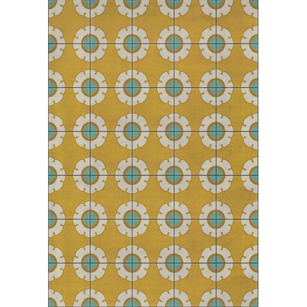 Gold, Cream, Blue (Happy Days) Floral / Botanical Area Rug