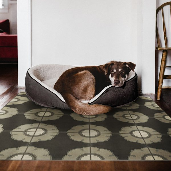 Distressed Black, Grey - Smoke Gets in Your Eyes Floral / Botanical Area-Rugs