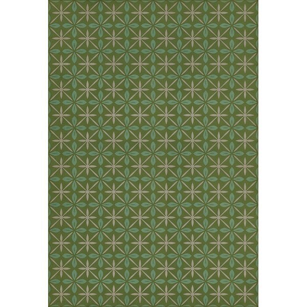 Distressed Green, Blue, Cream (Downtown Diner) Contemporary / Modern Area Rug