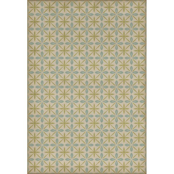 Distressed Cream, Blue, Green (Moms Kitchen) Contemporary / Modern Area Rug