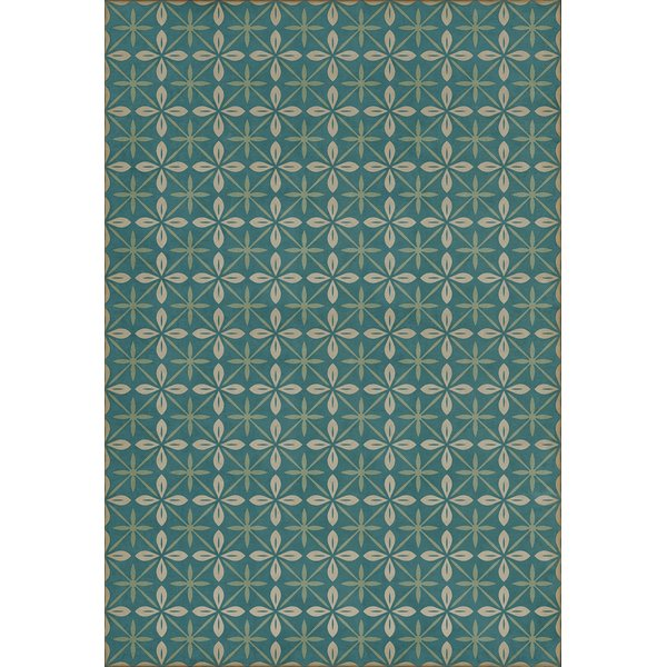 Distressed Blue, Cream (Oceanside Inn) Contemporary / Modern Area Rug