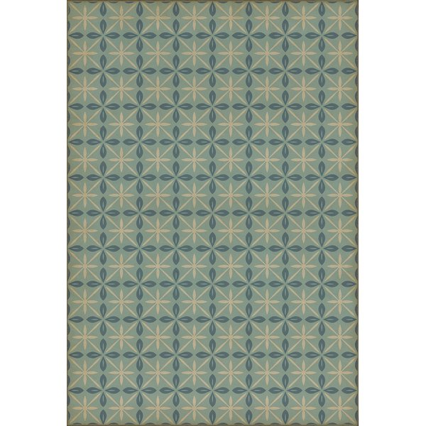 Distressed Blue, Cream (Skyside Diner) Contemporary / Modern Area Rug