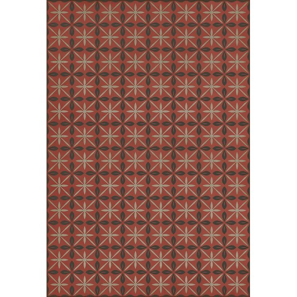 Red, Distressed Black, Grey (The Atomic Diner) Contemporary / Modern Area Rug