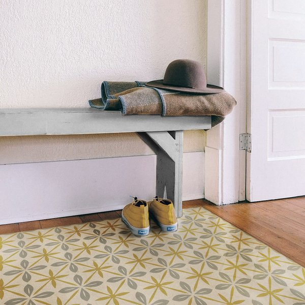 Cream, Gold, Distressed Grey - The Breakfast Club Contemporary / Modern Area-Rugs