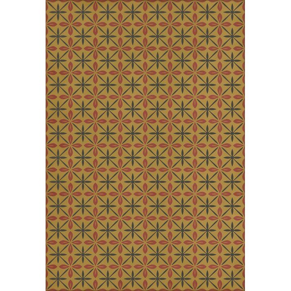 Gold, Red, Distressed Black (The Courtside Stop) Contemporary / Modern Area Rug