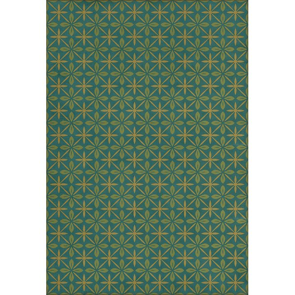 Distressed Blue, Green, Gold (The Garden Room) Contemporary / Modern Area Rug