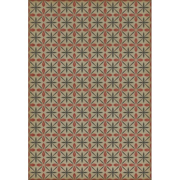 Cream, Red, Distressed Black (The Soda Jerk) Contemporary / Modern Area Rug