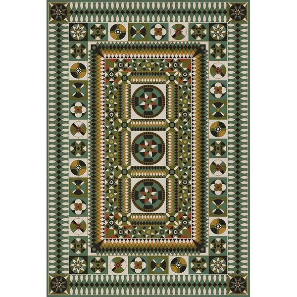 Green, Yellow, Black (Field of Battle) Contemporary / Modern Area Rug