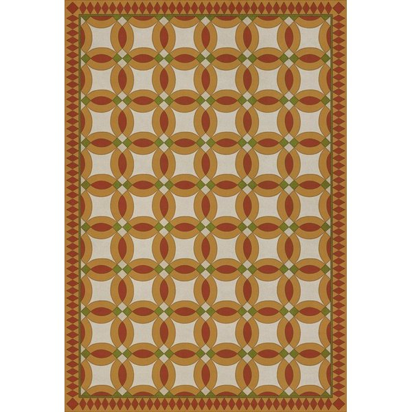 Red, Yellow, Beige (Leonora) Contemporary / Modern Area Rug