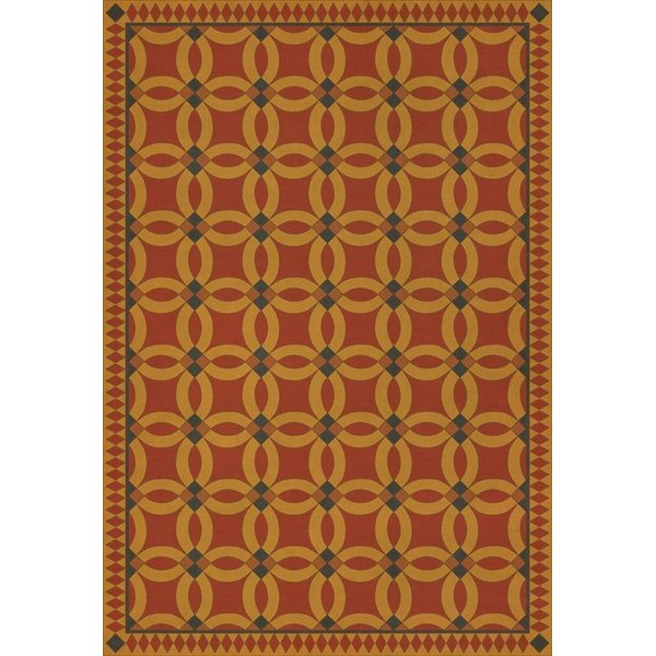 Red, Yellow, Distressed Black (Persephone) Contemporary / Modern Area Rug