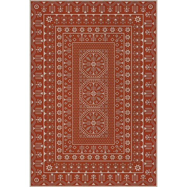Red, Beige (The Sanguine Sunrise) Contemporary / Modern Area Rug