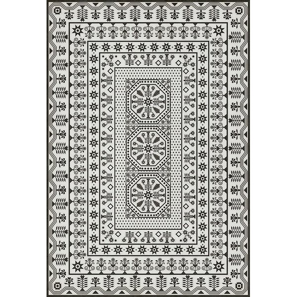 Beige, Distressed Black (To the Moon) Contemporary / Modern Area Rug