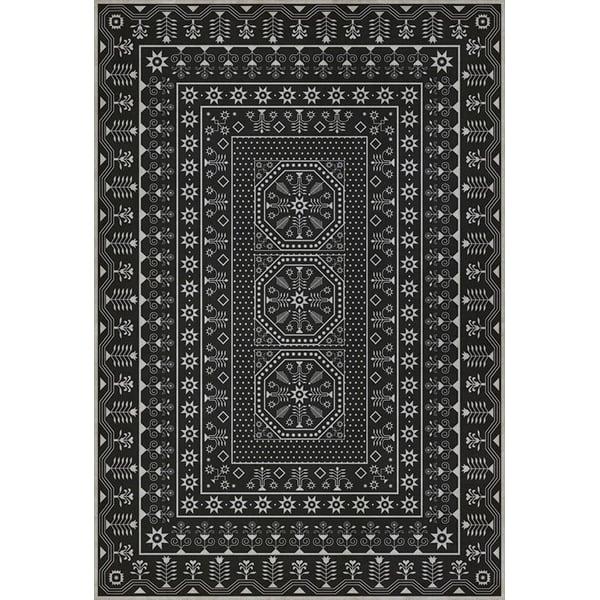 Distressed Black, Beige (Winters Midnight) Contemporary / Modern Area Rug
