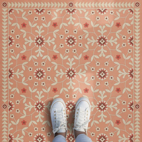 Pink, Beige (Cupid and Folly) Floral / Botanical Area Rug