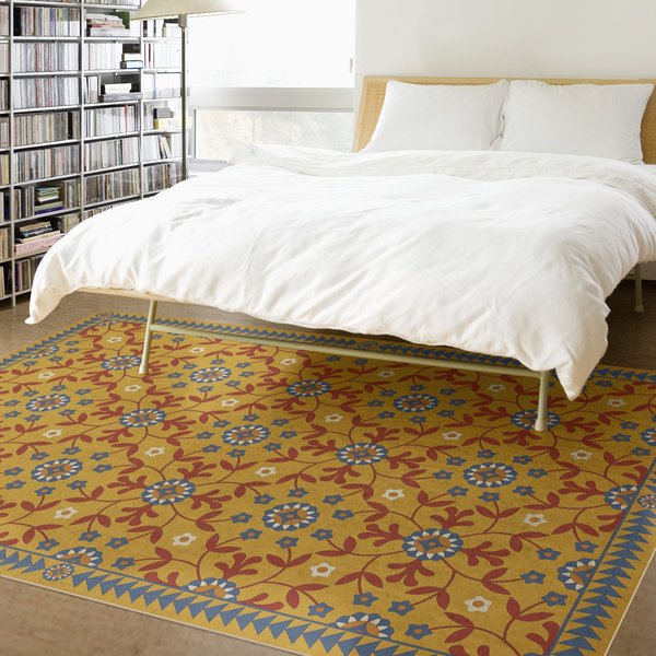 Yellow, Red, Blue (Hope Springs Eternal) Floral / Botanical Area Rug