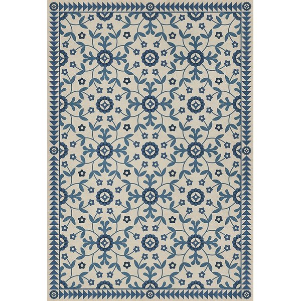 Beige, Blue (The Day Has Eyes) Floral / Botanical Area Rug