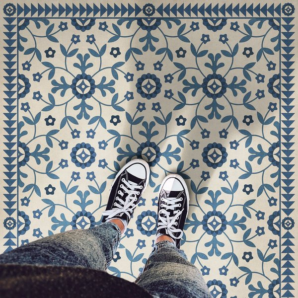 Beige, Blue - The Day Has Eyes Floral / Botanical Area-Rugs