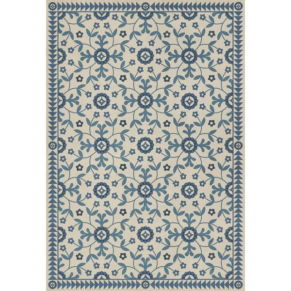 Beige, Blue - The Day Has Eyes Floral / Botanical Area Rug